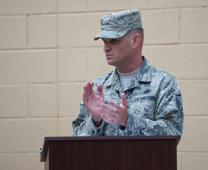 Col. Leslie Maher, 375th Air Mobility Wing commander, gives her remarks during the Rockwell Hall grand opening, June 20, 2018, at Scott Air Force Base, Illinois. The six-month renovation project involved installing new furniture and carpet, as well as repainting the walls. (U.S. Air Force photo by Airman 1st Class Tara Stetler)
