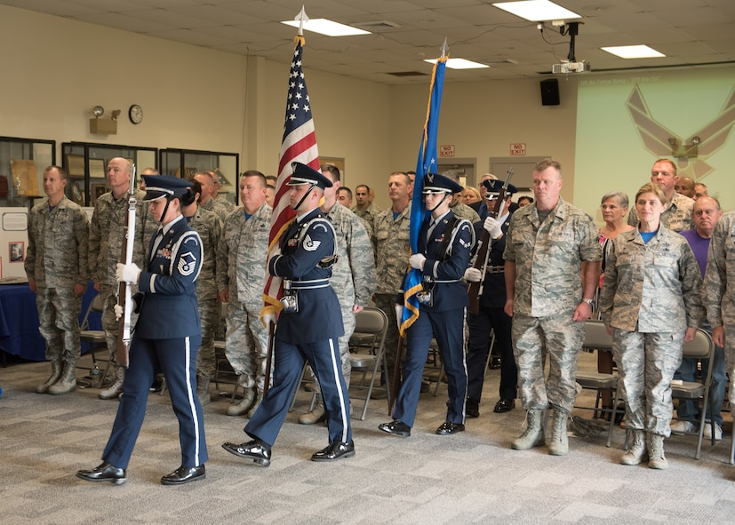 102nd Intelligence Wing honor guard marches into the 70th anniversary ceremony