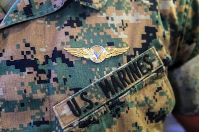 Unmanned aerial vehicle operators, with Marine Unmanned Aerial Vehicle Squadron 4, Marine Aircraft Group 41, 4th Marine Aircraft Wing, in Camp Talega on Marine Corps Base Camp Pendleton, California, were honored in VMU-4's very first winging ceremony on June 17, 2018. This winging ceremony is historic for the Marine Corps, as it is the first time the Marine Corps has winged UAV operators. (U.S. Marine Corps photo by Cpl. Alexis B. Rocha/released)