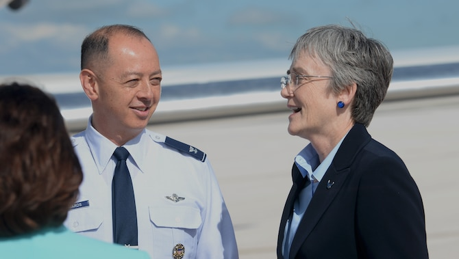 Col. John Edwards, 28th Bomb Wing commander, greets Secretary of the Air Force Heather Wilson, as she arrives at Ellsworth Air Force Base, S.D., June 25, 2018. During her visit, Wilson toured the new 28th Security Force's Little Defender's Den and state-of-the-art Cold Spray station inside the 28th Maintenance Squadron. (U.S. Air Force photo by Nicolas Z. Erwin)