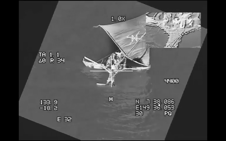 Six passengers aboard a canoe were located in a joint search and rescue mission June 25, 2018, in the Pacific Ocean Southwest of Guam. Crew members flying a B-52H Stratofortress assigned to the 20th Expeditionary Bomber Squadron (EBS), stationed at Barksdale Air Force Base (AFB), La., and deployed to Andersen AFB, Guam, successfully located six passengers who had been missing for six days and relayed their location to the U.S. Coast Guard. (courtesy photo)