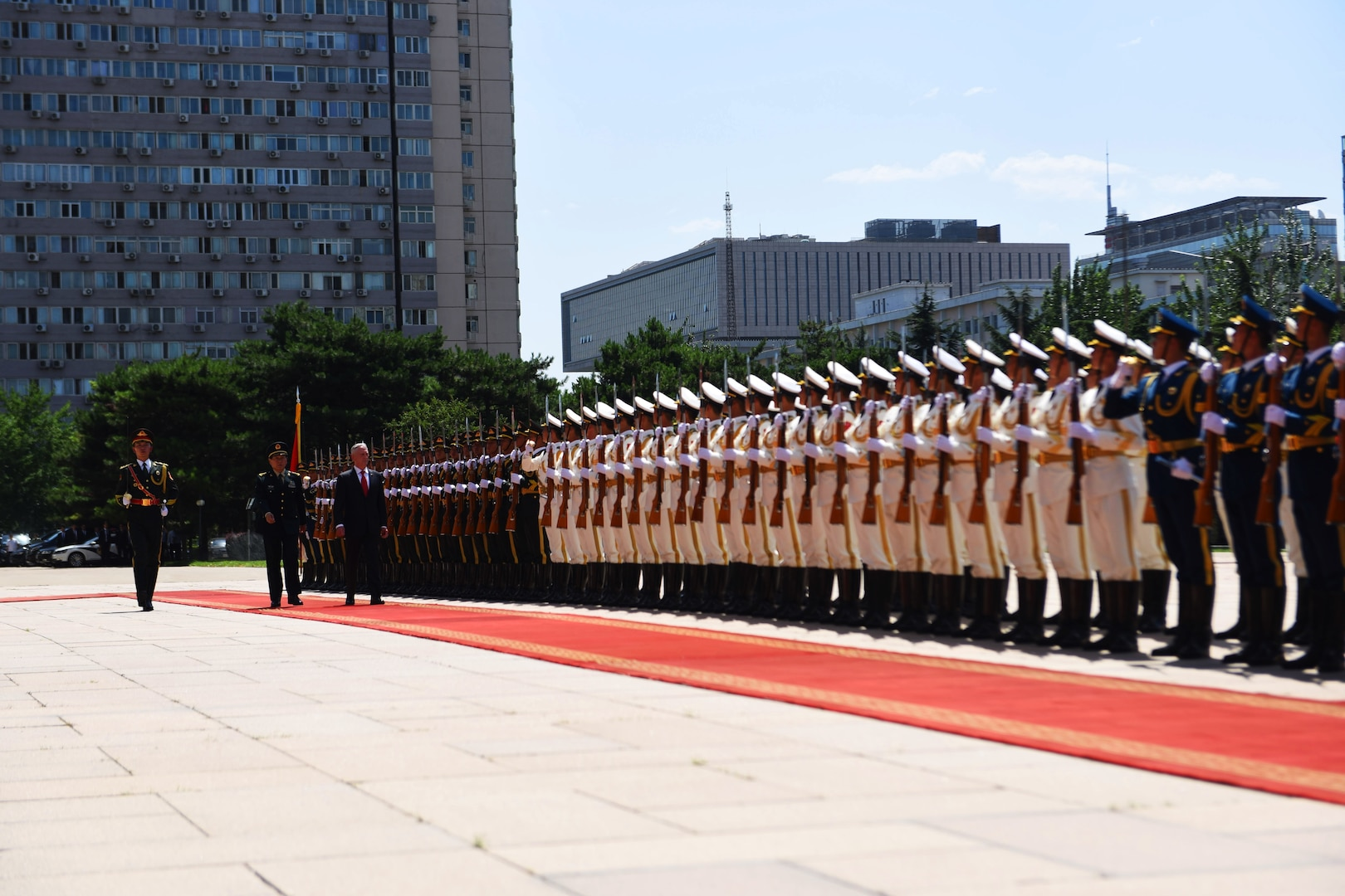 Defense Secretary James N. Mattis and China's Minister of National Defense Wei Fenghe perform a pass and review of the soldiers.