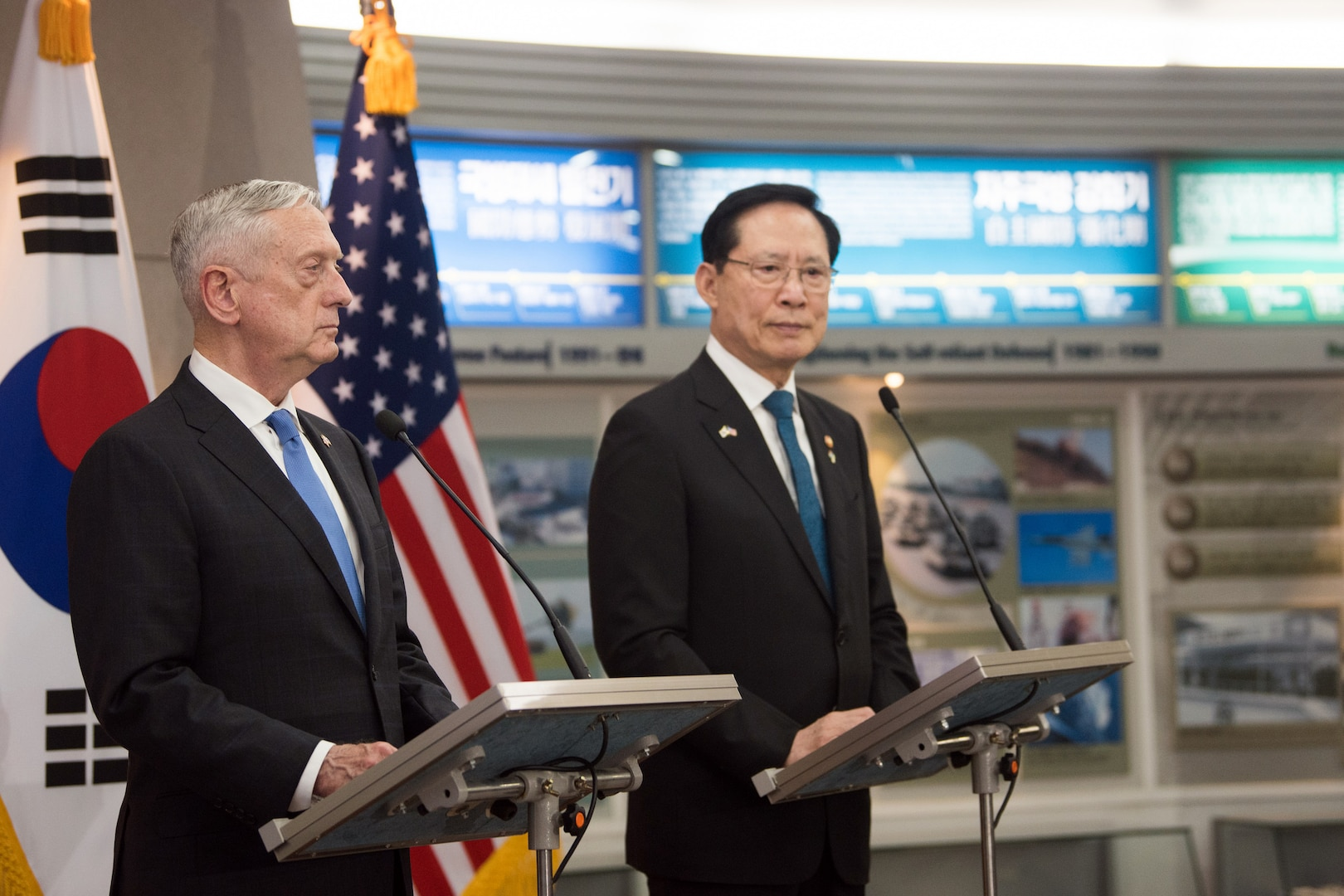 Defense Secretary James N. Mattis and the South Korean defense minister speak from behind podiums.