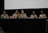 Col. Dawn Alonso, center, commanding officer of I Marine Expeditionary Force Information Group, I MEF, answers questions from fellow officers during the senior officer panel at the 31st Annual Joint Women's Leadership Symposium at the San Diego Convention Center, June 22, 2018. The symposium brought together women from all of the U.S. services and 20 other countries to discuss topics ranging from women's health and wellness to professional development and leadership.