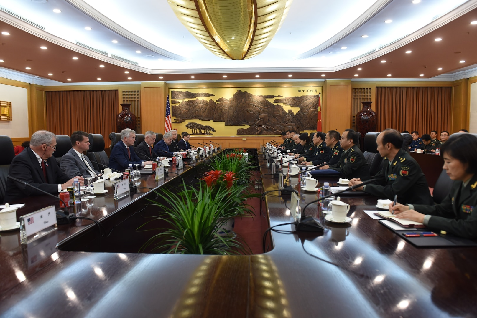 U.S. Secretary of Defense James N. Mattis meets with China's Minister of National Defense Wei Fenghe at the Bayi Building, China's Ministry of National Defense in Beijing, June 27, 2018.