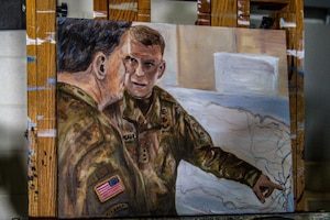 A piece of artwork showing two service members talking to each other and one pointing to a map.