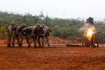 U.S. Marines Corps Combat Engineers with Marine Rotational Force Darwin, detonate a water charge during a breach at Plum, New Caledonia, May 16, 2018. As a Combat Engineer, performing a breach is an objective that can be tasked if necessary Their capabilities are both constructive, e.g., building bunkers, providing utilities and destructive, e.g., demolition and breaching support capabilities to the battlefield. This unique combination of capabilities provides knowledge, experience and skills to commanders at the operational and tactical levels with which they can, according to Marine Corps Warfighting Publication 3-34, reduce friction, facilitate maneuver and improve the morale of friendly forces or create friction and disorder for the enemy.