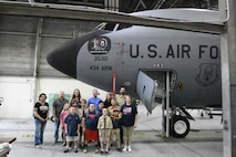 Scouts from Lafayette, Indiana Boy Scout Troop 3339 pose in front of a KC-135R Stratotanker June 27, 2018 at Grissom Air Reserve Base, Indiana. During a tour of the base, scouts were able to climb aboard the tanker and see the cockpit and boom pod. (U.S. Air Force photo/Senior Airman Cali Elliott)