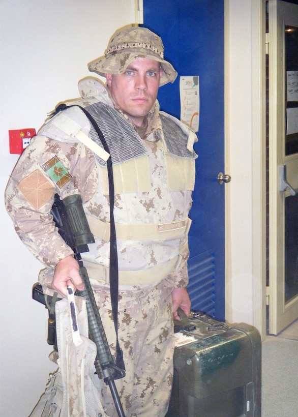 Maj. Steven Pirie, a Canadian Armed Forces nurse assigned to a Joint Theater Trauma System Team at Kandahar Air Base, Afghanistan, prepares to depart the base to deliver point-of-injury training to medics in the field. Pirie served with Air Force medics, helping coordinate care across coalition forces.  (Courtesy photo)