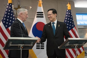 Defense Secretary James N. Mattis meets with South Korean Defense Minister Song Young-moo at the Defense Ministry in Seoul, South Korea.