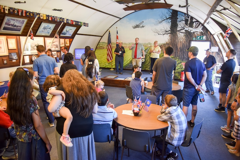 Robert Mackey, 100th Air Refueling Wing Historian welcomes Airmen from the 100th Air Refueling Wing Wing Staff Agency to 100th Bomb Group Memorial Museum at Diss, England, June 26, 2018. Airmen from the base spent the day learning about the military heritage history while visiting the 100th BG Memorial Museum and the Norfolk and Suffolk Aviation Museum.  (U.S. Air Force photo by Senior Airman Christine Groening)