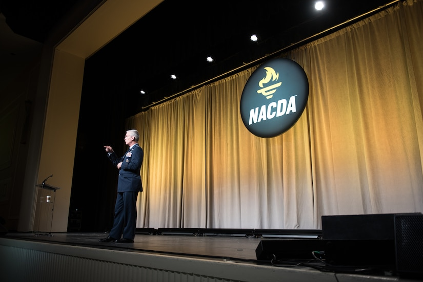 Air Force Gen. Paul J. Selva, vice chairman of the Joint Chiefs of Staff, speaks during the National Association of Collegiate Directors of Athletics and Affiliates 53rd annual convention in National Harbor, Maryland.