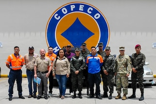 Officers of the Puerto Rico National Guard visit the Honduras Emergency Operation Center