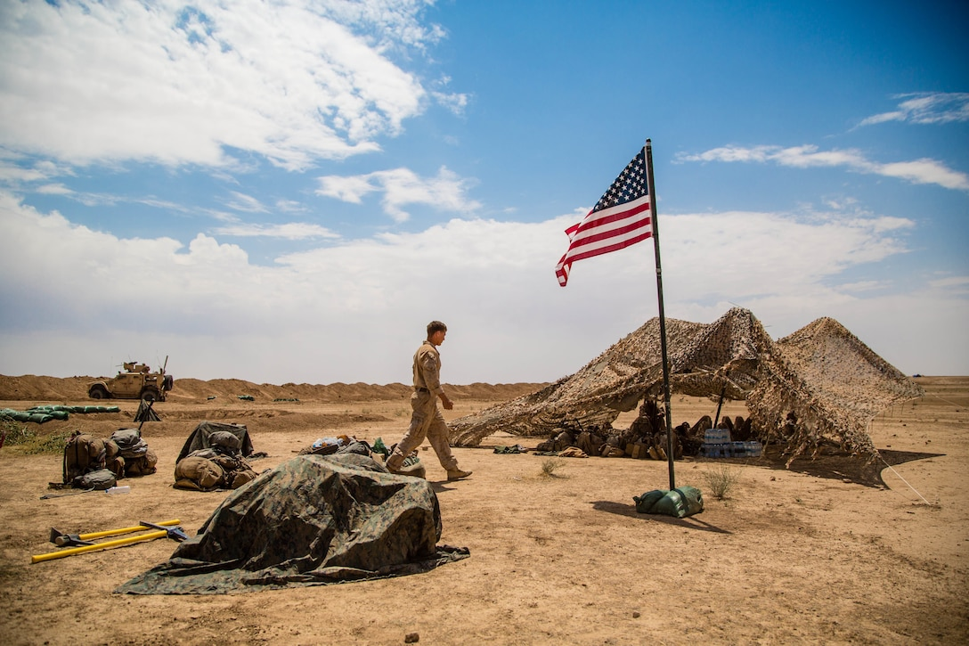 U.S. Marines provide additional security for Iraqi security forces and coalition partners near the Iraqi-Syrian border.