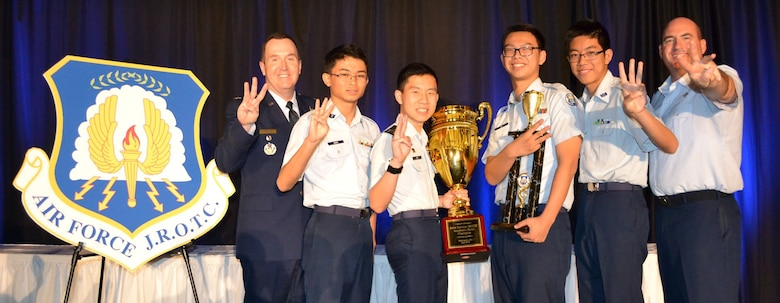 Air Force celebrates three-peat win at the Junior Reserve Officer Training Corps Leadership and Academic Bowl