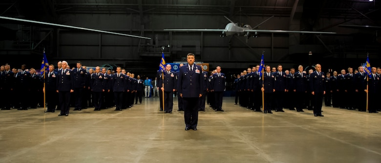 Col. Jed Cohen, National Air and Space Intelligence Center vice commander, stands in formation during NASIC's change of command ceremony June 28, 2018 at the U.S. Air Force Museum in Dayton, Ohio. Col. Parker H. Wright took command of the Center, making him the newest leader of the Air Force's primary source for foreign air and space intelligence. (U.S. Air Force photo/Senior Airman Jonathan Stefanko)