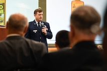 Col. Al LaPuma speaks to attendees during his retirement ceremony at Hanscom Air Force Base, Mass., June 28.