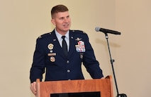 Col. Michael A. Sinks accepted command of the 844th Communications Group from Col. Rocky A. Favorito during a change-of-command ceremony June 28 on Joint Base Andrews, Maryland.