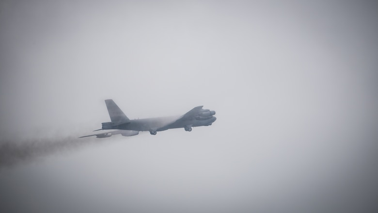 A B-52 Stratofortress takes off during an honorary commander's unit orientation flight at Barksdale Air Force Base, La., June 20, 2018. The Honorary commanders Program aims to foster relationship building and communication between base commanders and community leaders, in addition to educating key civic leaders about the Air Force, the installation and their assigned units.