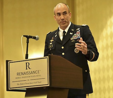 Col. Sebastien P. Joly delivers his acceptance as he assumes command of the U.S. Army Corps Engineers Mobile District, during a change of command ceremony, June 29, 2018 at the Renaissance Riverview Hotel in Mobile, Al. Joly becomes the 53rd commander of the Mobile District.