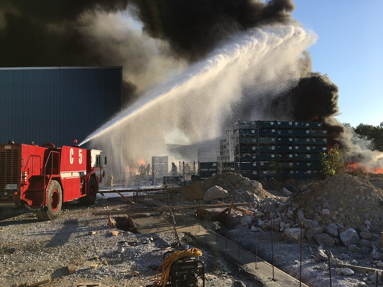 Multiple local fire departments extinguish a fire at the Kirchhoff Automotive Plant in Manchester June 6. Arnold Air Force Base Fire & Emergency Services supplied mutual aid during the fire. (Courtesy photo)