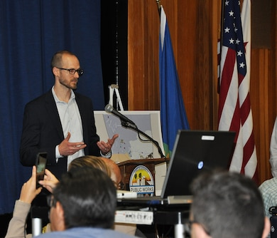 David Silvertooth, study manager and Southern California Silver Jackets coordinator with the Water Resources Planning Section, U.S. Army Corps of Engineers Los Angeles District, speaks to more than 45 local, state and federal representatives about Flood Preparedness Week during a flood-risk tabletop exercise June 21 at the LA County Department of Public Works.
