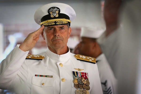 Vice Chief of Naval Operations Adm. Bill Moran arrives to preside over a ceremony establishing Expeditionary Exploitation Unit ONE, EXU-1, as a stand-alone command onboard Naval Support Facility Indian Head, June 29.