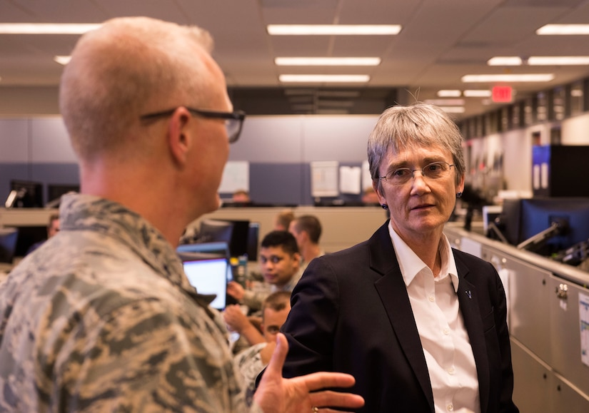 Maj. Gen. Chris Weggeman, Air Forces Cyber commander, explains the 624th Operations Center mission to Secretary of the Air Force Heather Wilson during her visit to Joint Base San Antonio-Lackland, Texas, June 28, 2018. During her visit, Wilson met Air Forces Cyber Airmen and learned about their contributions to the cyber mission. (U.S. Air Force photo by Tech. Sgt. R.J. Biermann)