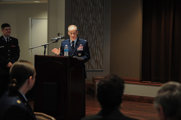 NASIC commander speaks during ceremony