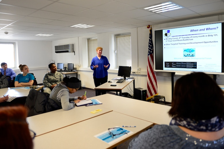 Nicole Gomez, Force Support Squadron civilian personnel flight chief, speaks during the first Civilian Development Forum at Spangdahlem Air Base, Germany, Feb 27, 2018. The forum will be offered the second Tuesday of every month in building 131. The topics will vary monthly and include subjects such as conflict management, mentorship, and resilience. (U.S. Air Force photo by Tech. Sgt. Staci Kasischke)
