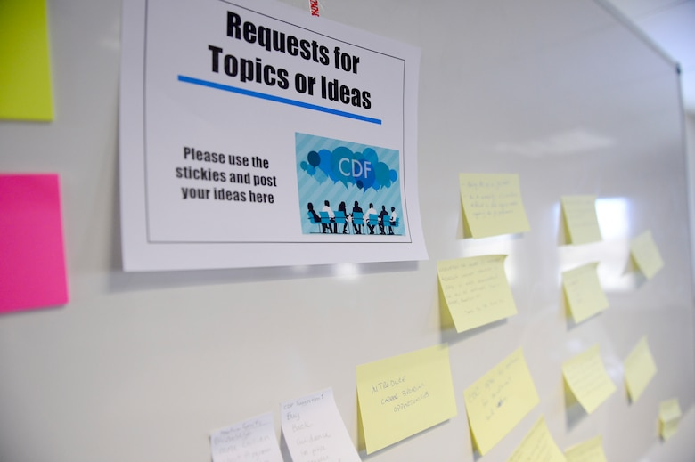 Participates wrote questions or suggestions for future forums and placed them on a white board during the first Civilian Development Forum at Spangdahlem Air Base, Germany, Feb 27, 2018. The forum will be offered the second Tuesday of every month in building 131. The topics will vary monthly and include subjects such as conflict management, mentorship, and resilience