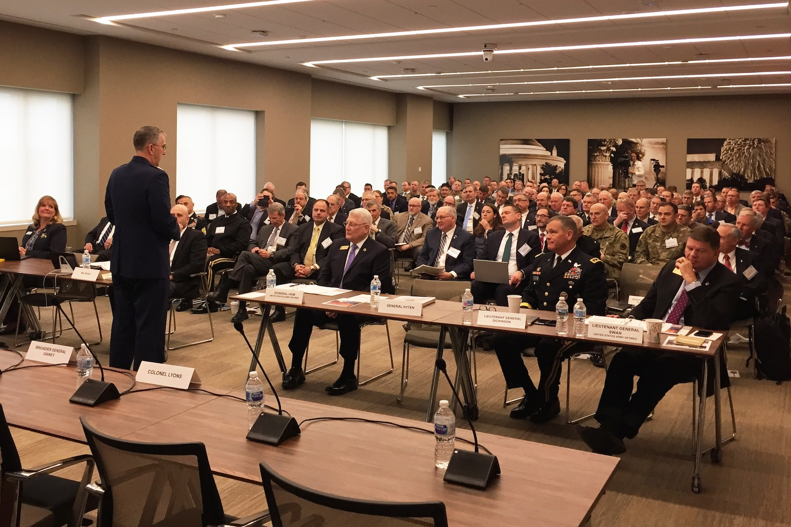 U.S. Air Force Gen. John Hyten, commander of U.S. Strategic Command, addresses an Association of the United States Army discussion on Army air and missile defense in Arlington, Va., Feb. 28, 2018.
