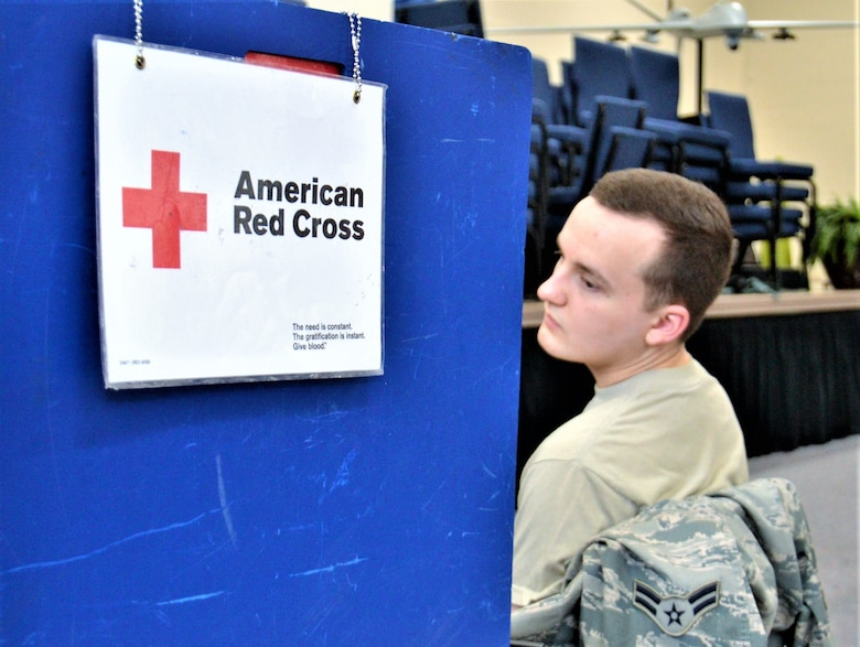 Members of the 111th Attack Wing doante their time and blood to the Red Cross Feb. 11, 2018 at Horsham Air Guard Station, Pa. Recent winter weather conditions have lead to a significant shortfall in blood donations within the local area. (U.S. Air National Guard photo by Tech. Sgt. Andria Allmond)