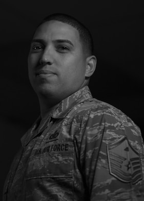 U.S. Air Force Master Sgt. Pablo Perez-Gonzalez, 33rd Operations Group first sergeant, poses for a portrait Jan. 8, 2018, at Eglin Air Force Base, Fla. (U.S. Air Force photo by Staff Sgt. Peter Thompson/Released)