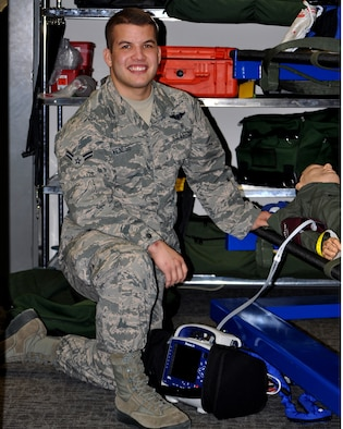 Airman 1st Class Jeffrey Veness, 445th Aeromedical Evacuation Squadron medical technician, is the 445th Airlift Wing March Spotlight Performer.