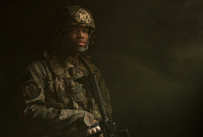 Airman 1st Class Daquan Hayes, 823rd Base Defense Squadron fire team member, poses for a photo at Moody Air Force Base, Ga., Jan. 12, 2018. The 823rd BDS is one of three operational security forces squadrons under the 820th Base Defense Group whose mission is to provide high-risk force protection and integrated base defense for expeditionary forces. (U.S. Air Force photo by Bennie J. Davis III)