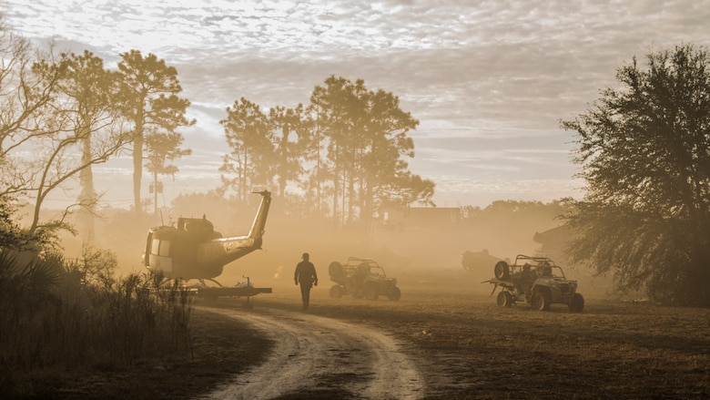 Pararescuemen from the 48th Rescue Squadron out of Davis-Monthan Air Force Base, Ariz., drive off-road utility vehicles into an objective area during the final mission of a five-day tactical medical training course in Perry, Fla., Dec. 15, 2017. During the course, pararescuemen were tasked with a variety of missions in which they were required to clear opposing forces, and provide extrication and medical treatment to isolated personnel. (U.S. Air Force photo by Staff Sgt. Chris Drzazgowski)