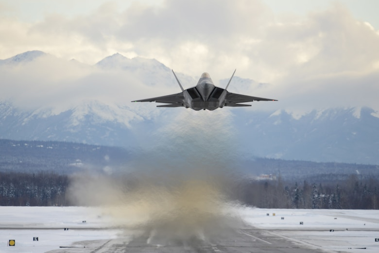 An F-22 Raptor assigned to the 3rd Wing flies over Joint Base Elmendorf-Richardson, Alaska, Feb. 27, 2018. The F-22 is the Air Force's premium fifth-generation fighter asset. (U.S. Air Force photo by Jamal Wilson)