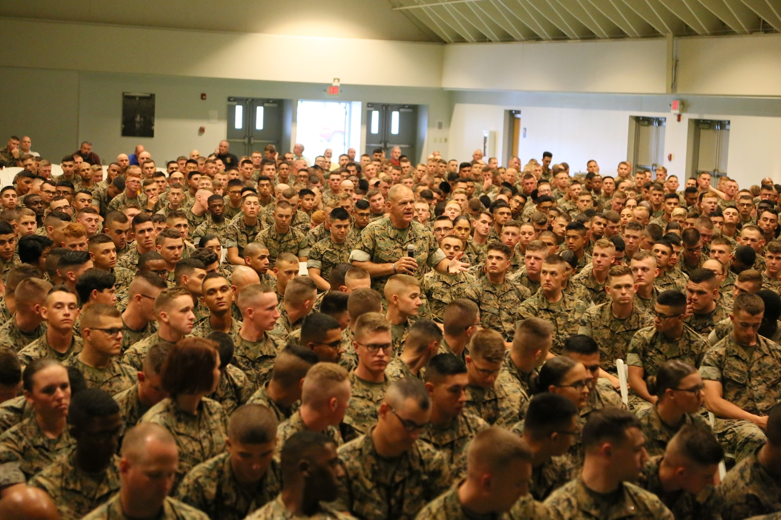 General Robert B. Neller, the 37th Commandant of the Marine Corps speaks to permanent personal and student population Marines on Fort Leonard Wood, MO August 28th, 2017. During the speech, General Neller reminds Marines that our Corps must be ready to execute when our Nation calls. (U.S. Marine Corps photo by Sgt. Teng Yang)