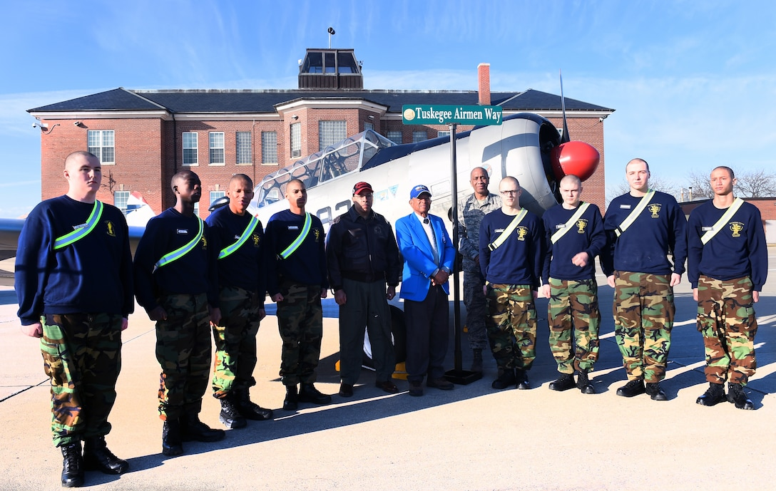 """Mr. Fredrick Henry and Lt. Col. Harry Stewart, both documented original Tuskegee Airmen and WWII veterans, were honored during the renaming of Birch St. to """"Tuskegee Airmen Way"""" at Selfridge Air National Guard Base, on February 27, 2018."""