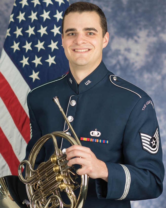 Technical Sgt. Kevin Grasel is a French hornist with the Ceremonial Brass, The United States Air Force Band, Joint Base Anacostia-Bolling, Washington, D.C. A native of Moorpark, California, his career in the Air Force began in June 2017. 