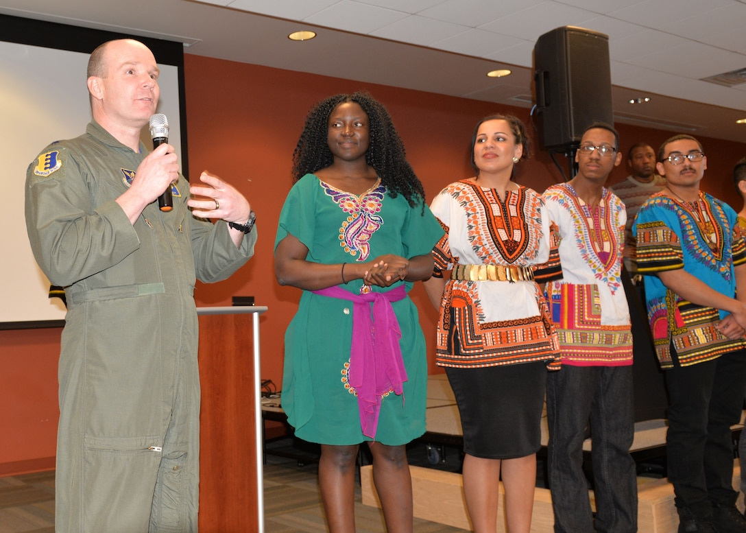 Lt. Col. Nathan Barrett, the 28th Bomb Wing director of staff, gives closing remarks during a cultural exposé at Ellsworth Air Force Base, S.D., Feb. 23, 2018. The Diversity Council is planning more events to spread cultural awareness among the base's Airmen. (U.S. Air Force photo by Senior Airman Michella T. Stowers)