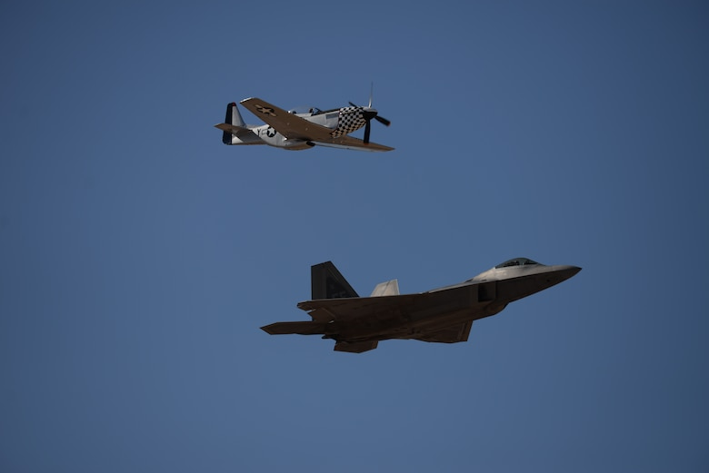 During the annual Heritage Flight Training and Certification course, aircrews practice ground and flight training to enable civilian pilots of historic military aircraft and U.S. Air Force pilots of current fighter aircraft to fly safely in formations together