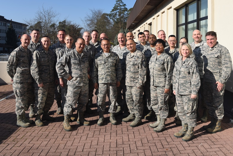 Members of U.S. Air forces in Europe's Senior Religious Support Team pose for a group photo on Feb. 22, 2018, on Ramstein Air Base, Germany. The support team participated in a two-day conference to discuss their annual plans and budget.