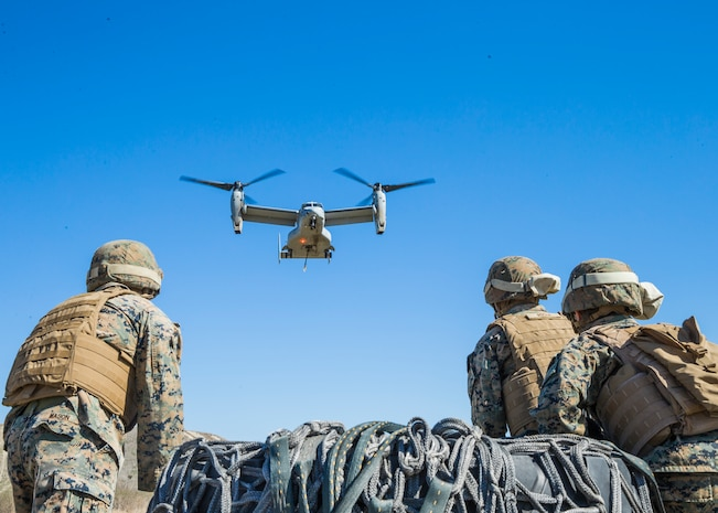 U.S. Marines with 1st Transportation Bn., Landing Support Co., await the arrival of an MV-22 Osprey during external lift drills conducted on Camp Pendleton, Calif., Mar. 1, 2018. 1st Transportation Bn. provides transportation and support for the Marine Expeditionary Force to facilitate the distribution of personnel, equipment, and supplies by air, ground, and sea.