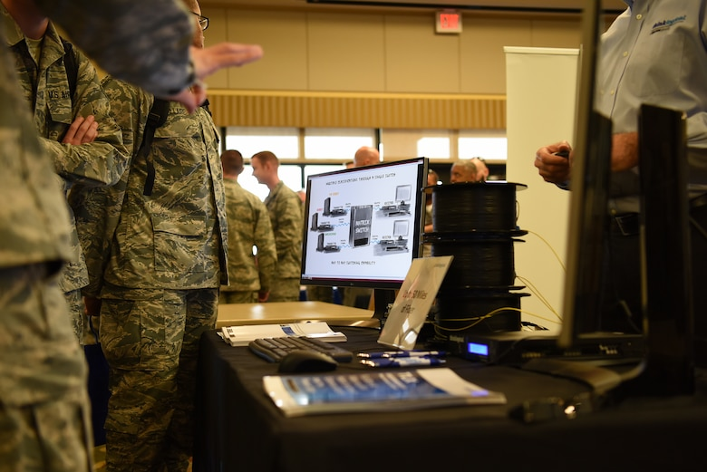 Technology products are displayed during the 2018 Keesler Technology Expo at the Bay Breeze Event Center Feb. 27, 2018, on Keesler Air Force Base, Mississippi. The expo was hosted by the 81st Communications Squadron and was free to all Defense Department, government and contractor personnel with base access. The event was held to introduce military members to the latest in technological advancements to bolster the Air Force's capabilities in national defense.  (U.S. Air Force photo by Airman 1st Class Suzanna Plotnikov)