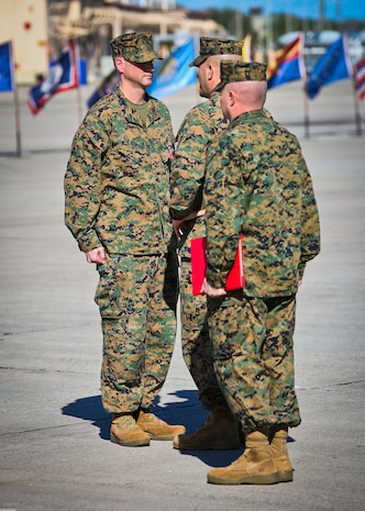Lt. Col. Kristian von Heimburg is awarded the Bronze Star Medal during a change of command ceremony aboard Marine Corps Air Station Beaufort, Feb. 23.