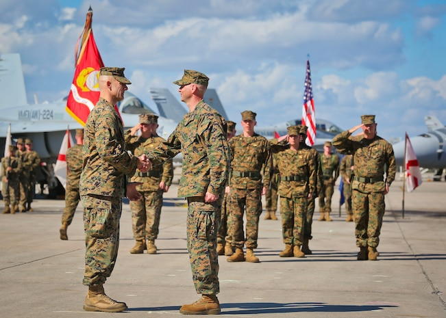 Marine All-Weather Fighter Attack Squadron-224 underwent a change of command ceremony aboard Marine Corps Air Station Beaufort, Feb. 23.