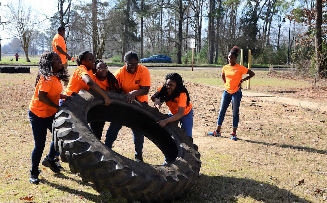 High school students from the West Lowndes and Columbus High Schools participate in an obstacle course Feb. 23, 2018, on Columbus Air Force Base, Mississippi. There were five stations that were each manned by Team BLAZE members, who gave the students advice about staying healthy and making good life choices. (U.S. Air Force photo by Airman 1st Class Beaux Hebert)