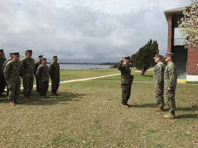 On March 1, 2018 at Courthouse Bay, Camp Lejeune, N.C. Charles Anderson is promoted to the rank of Master Sergeant. Major Travis Aiello administers the Oath of Enlistment to newly promoted MSgt Charles Anderson. Master Sergeants provide technical leadership as occupational specialists in their specific Military Occupational Specialty (MOS).